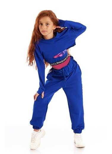 Colorinas Modern Romance Şeritli Pantolon Mavi Saks